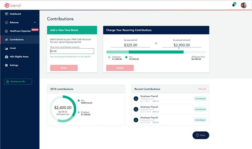 Demo screen of the Bend HSA contributions interface