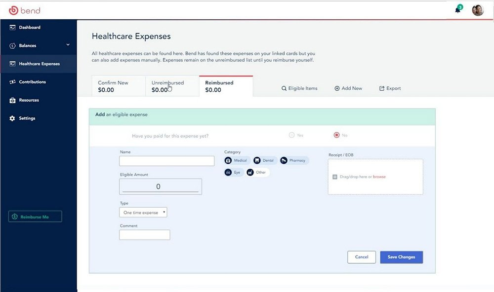 Demo screen of the Bend HSA expense interface