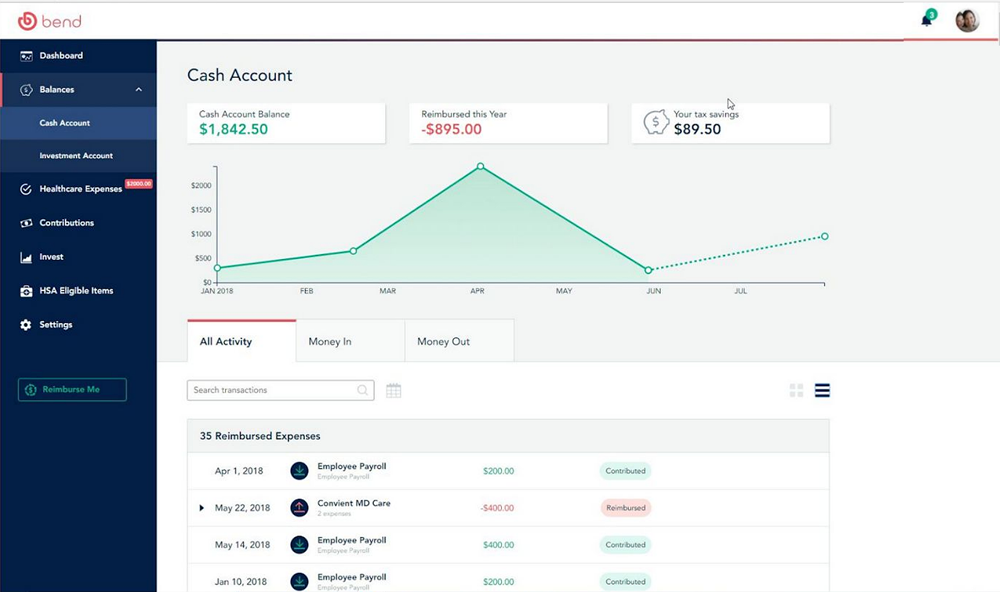 Demo screen of the Bend HSA investments interface